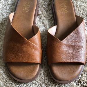 Franco Sarto Riviera Brown Leather Slide Flats